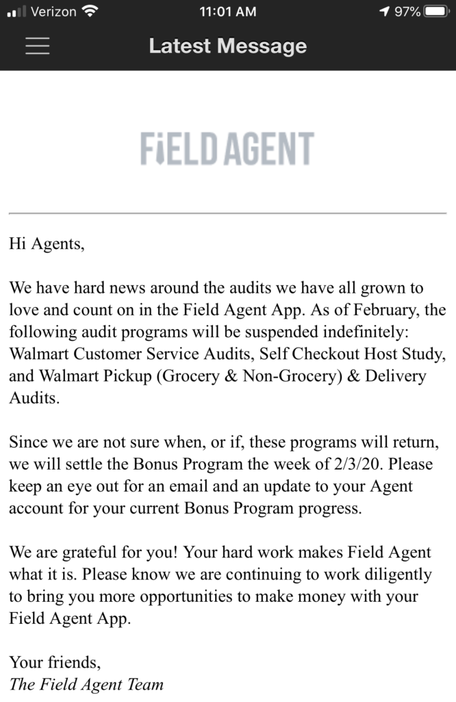 Field Agent notification