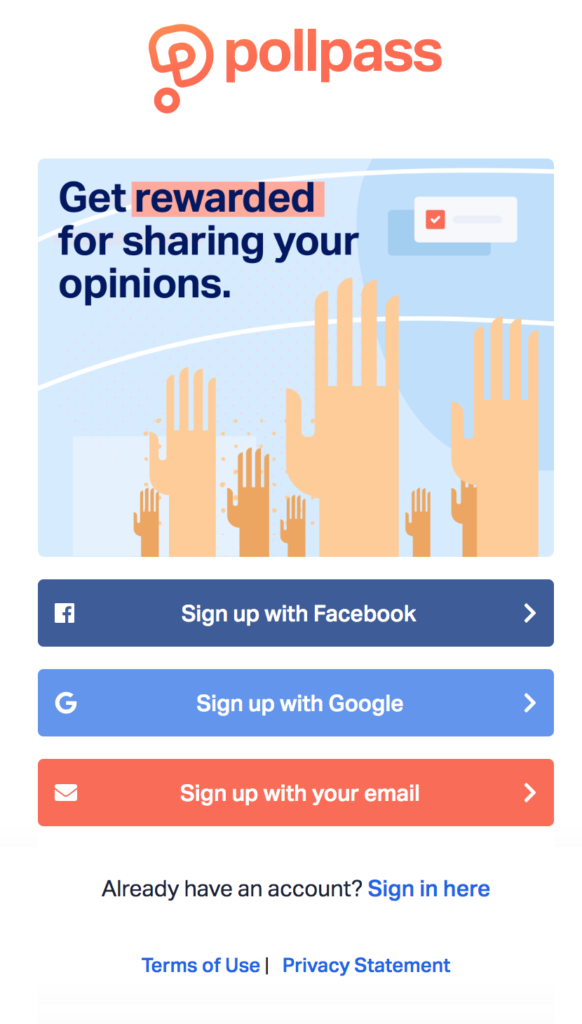 Pollpass registration page