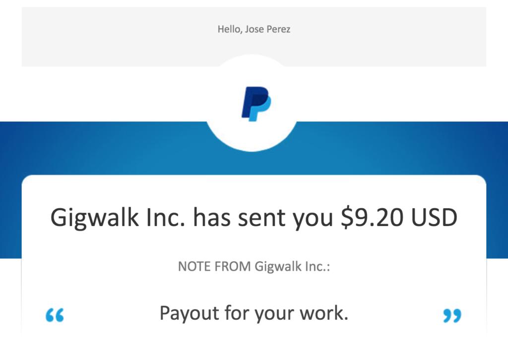 Gigwalk second payment