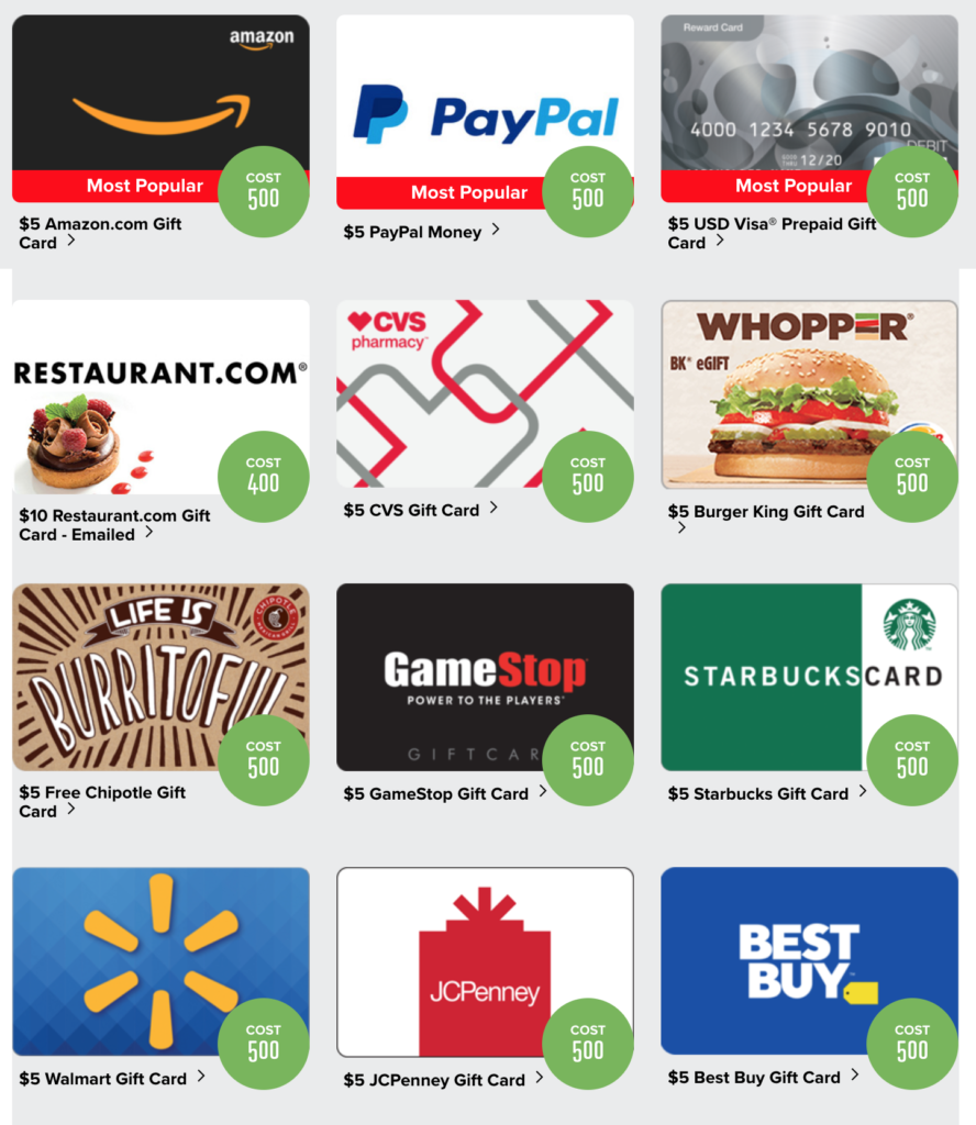 PrizeRebel gift cards examples