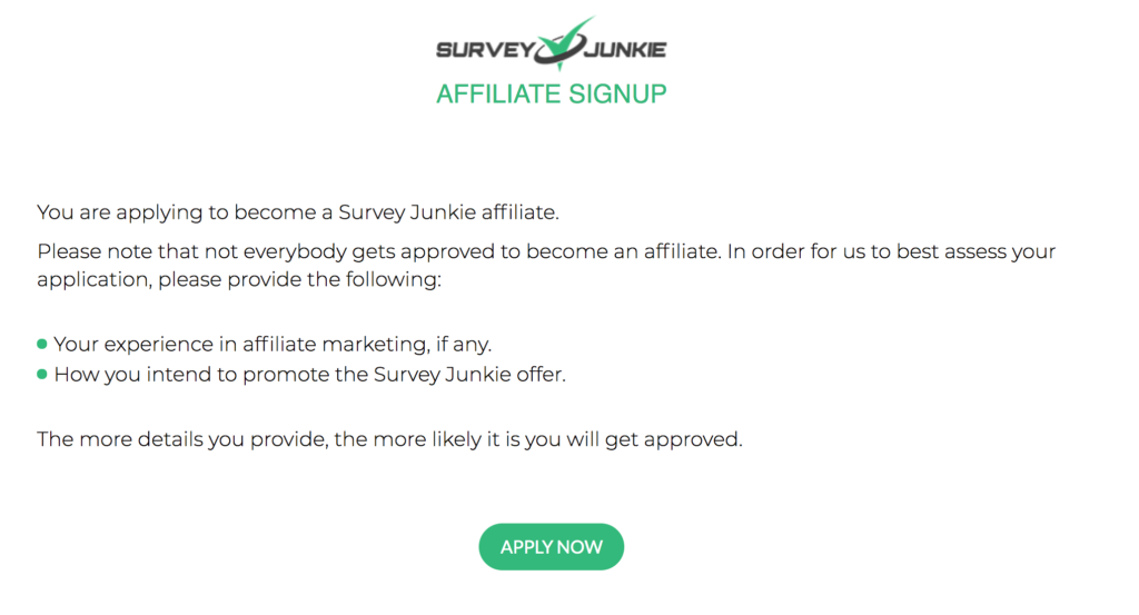 Is Survey Junkie Legit? - Affiliate Program application
