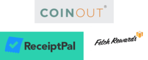 Coinout, ReceiptPal and Fetch Rewards logos
