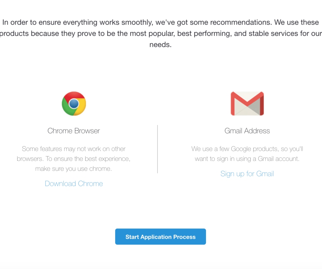 Chrome and Gmail requirements