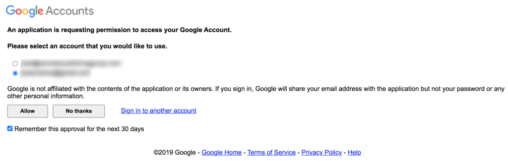 Google accounts permission