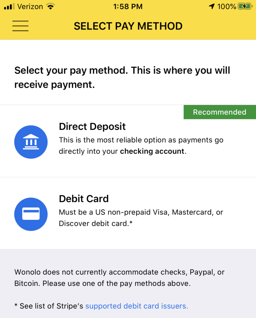 Payment method selection screenshot