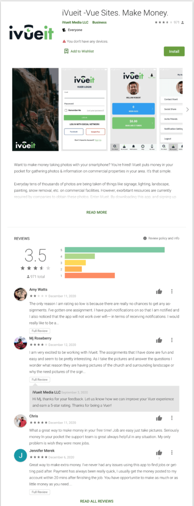 Google Play reviews for Avueit
